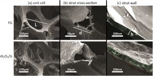 Compressive behavior and failure mechanisms of freestanding and composite 3D graphitic foams