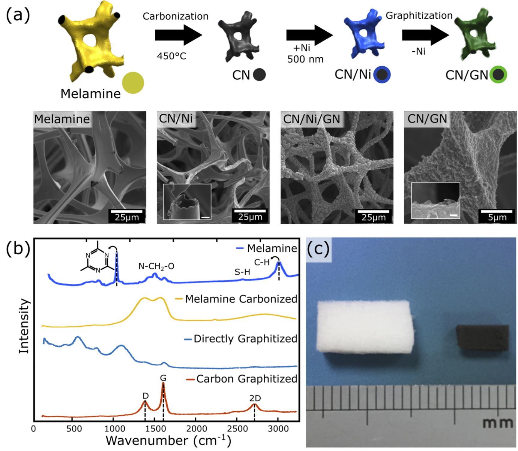 Ordered graphitic microfoams via shrinkage and catalytic conversion of polymer scaffolds